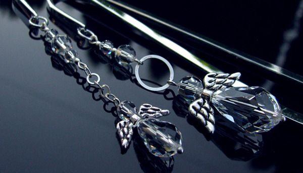 Komplet zakładek z kryształowymi aniołami