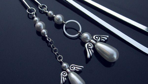 Komplet zakładek z perłowymi aniołami