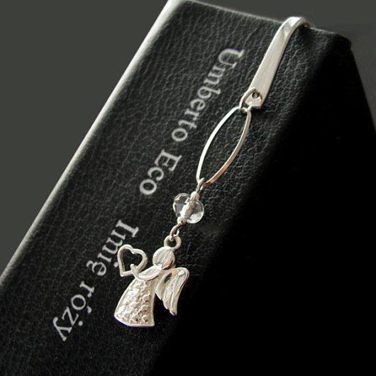 Zakładka ze srebrnym aniołkiem i kryształem Swrovski