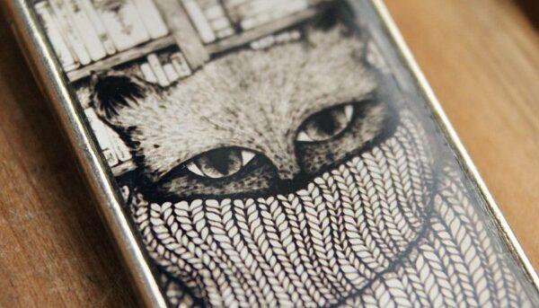 Zakładka z kotem - ilustracja w płynnym szkle