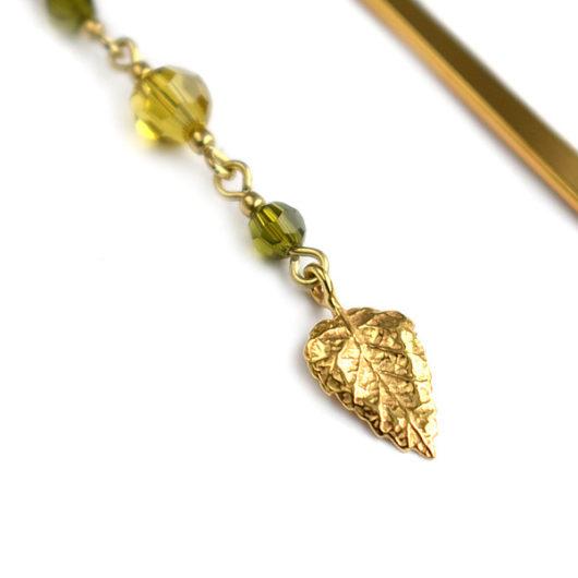 Zakładka pozłacana z liściem i kryształami Swarovski