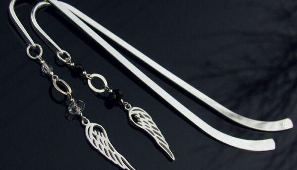 Komplet na prezent - zakładki o książek ze skrzydłami anioła i krysztłami Swarovski