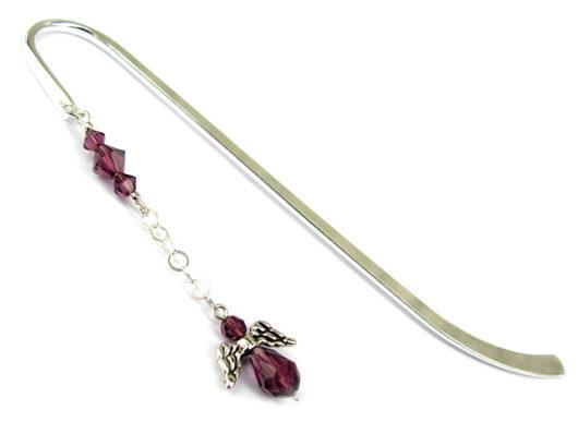 Zakładka do książki z fioletowym aniołkiem - kryształy Swarovski Amethyst