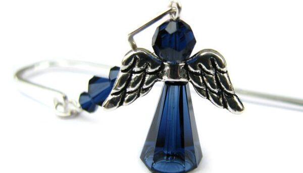 Zakładka do książki z granatowym aniołem - kryształy Swarovski