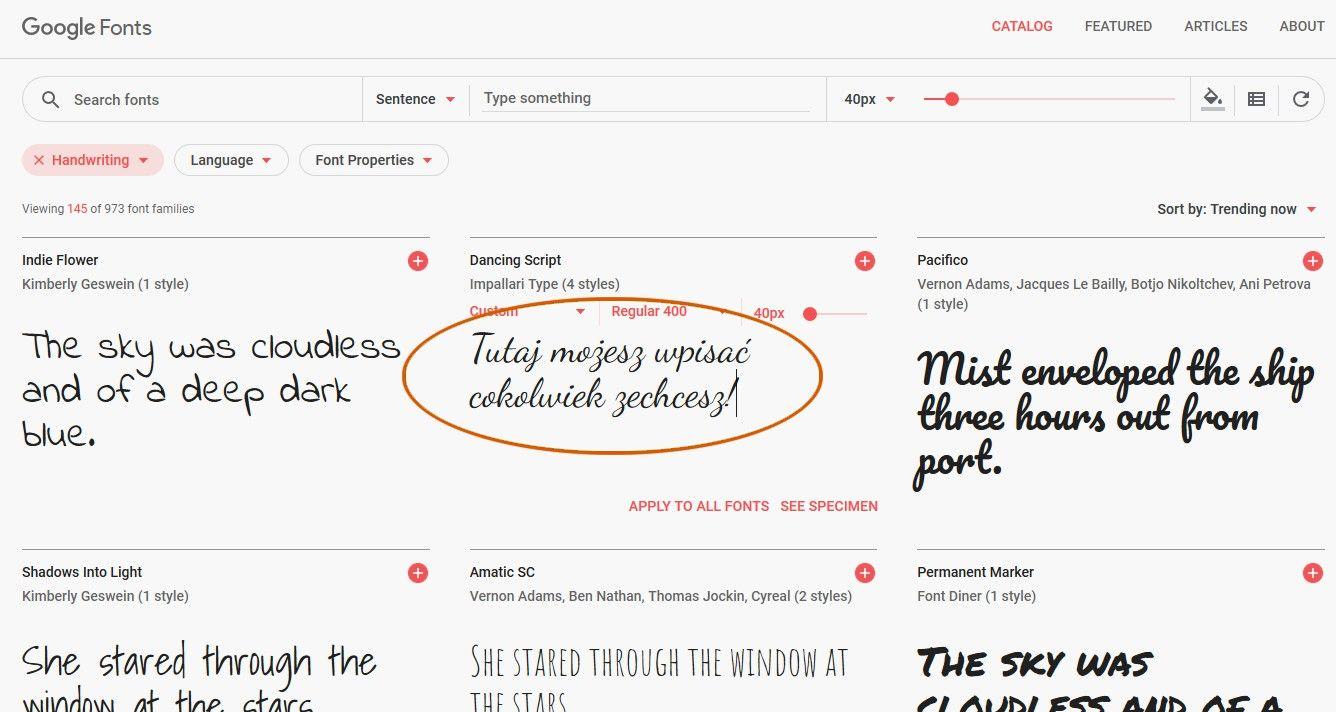Jak wybrać czcionkę z pomocą Google Fonts